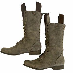 Steve Madden Gray Galleria Combat Lace zip Boots